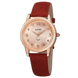 August Steiner Women's Quartz Diamond Leather Red Strap Watch