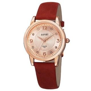 August Steiner Women's Quartz Diamond Leather Red Strap Watch