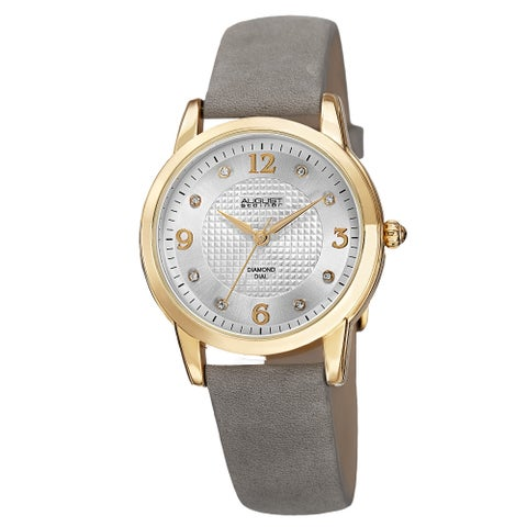 August Steiner Women's Quartz Diamond Leather White Strap Watch - Grey