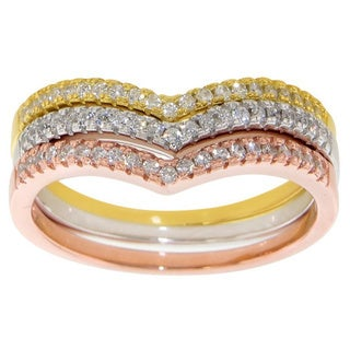 Eternally Haute Tri-Color Sterling Silver Pave Cubic Zirconia Stackable Tiara Rings (Set Of 3) - Mul