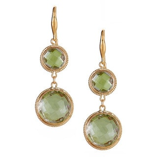 10k Yellow Gold Green Amethyst Dangle Earrings