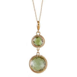 10k Yellow Gold Green Amethyst Briolette Pendant