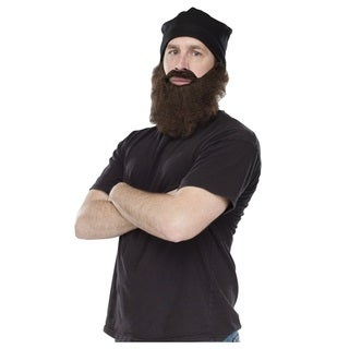 Black Ski Cap with Brown Beard Costume Hat