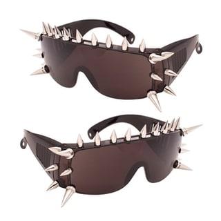 Black Large Spiked Frame Sunglasses