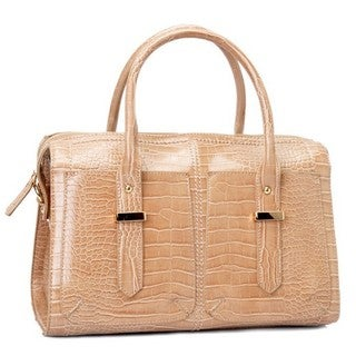 Oasis Handbag 'Enola' Glossy Crocodile Pattern Satchel Bag