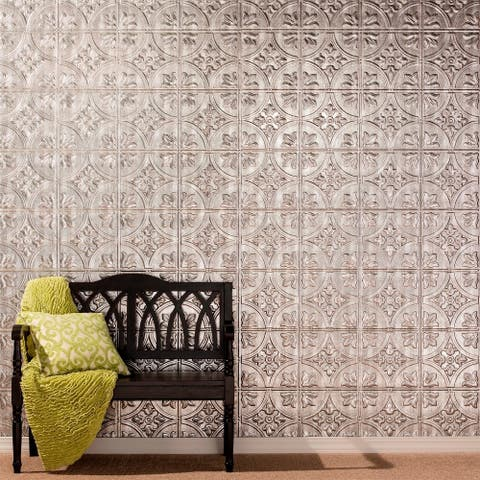 Fasade Traditional Style #2 Crosshatch Silver Wall Panel (4'x8')