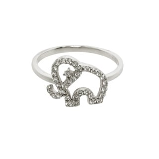 Eternally Haute Sterling Silver Pave Cubic Zirconia Elephant Ring