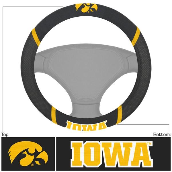 Fanmats Iowa Hawkeyes Black Fabric Steering Wheel Cover