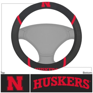 Fanmats Nebraska Cornhuskers Black Fabric Steering Wheel Cover