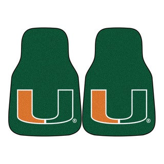 Fanmats Miami Hurricanes 2-piece Green Carpeted Car Mat Set