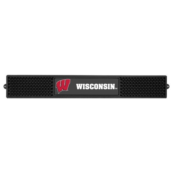 Fanmats Wisconsin Badgers Charcoal Rubberized Drink Mat