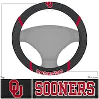 Fanmats Oklahoma Sooners Black Fabric Steering Wheel Cover