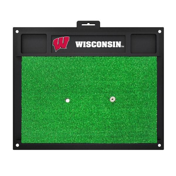 Fanmats Wisconsin Badgers Green Rubber Golf Hitting Mat