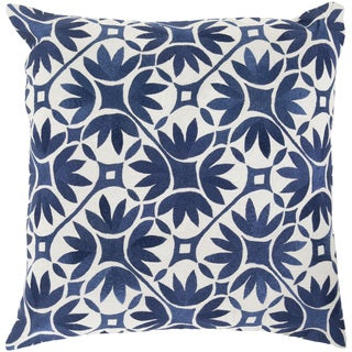 Decorative Carole Floral Feather and Down or Polyester Filled 20-inch Throw Pillow