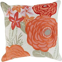 KD Maurice Floral Feather Down Filled or Poly Filled 22-inch Throw Pillow