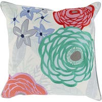 Maurice Floral Feather Down Filled or Poly Filled 22-inch Throw Pillow