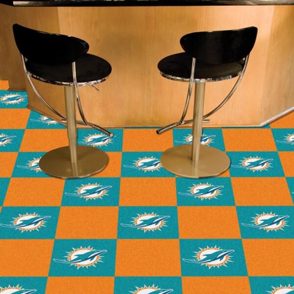 Fanmats Miami Dolphins Turquoise and Orange Carpet Tiles
