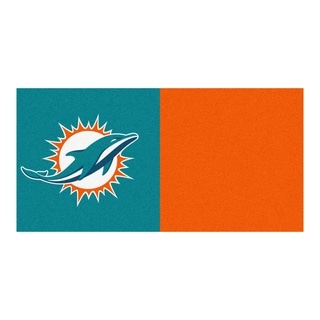 Fanmats Miami Dolphins Turquoise and Orange Carpet Tiles