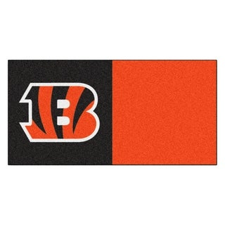 Fanmats Cincinnati Bengals Black and Orange Carpet Tiles