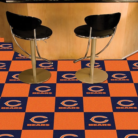 Fanmats Chicago Bears Blue and Orange Carpet Tiles