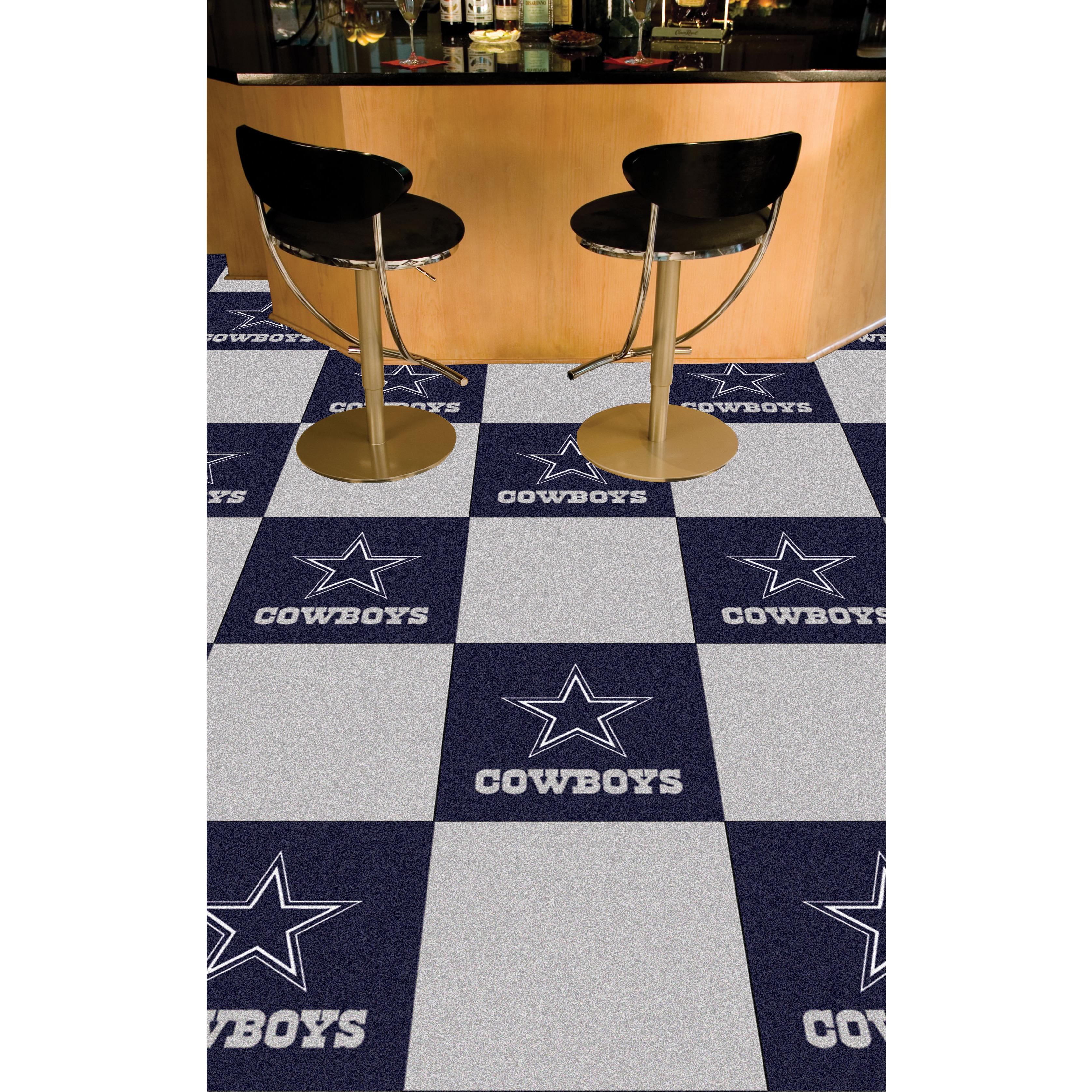 Fan Mats Dallas Cowboys Blue and Grey Carpet Tiles (45 sq...