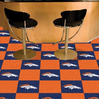 Fanmats Denver Broncos Blue and Orange Carpet Tiles