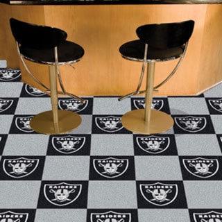 Fanmats Oakland Raiders Black and Grey Carpet Tiles