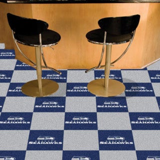 Fanmats Seattle Seahawks Blue and Grey Carpet Tiles