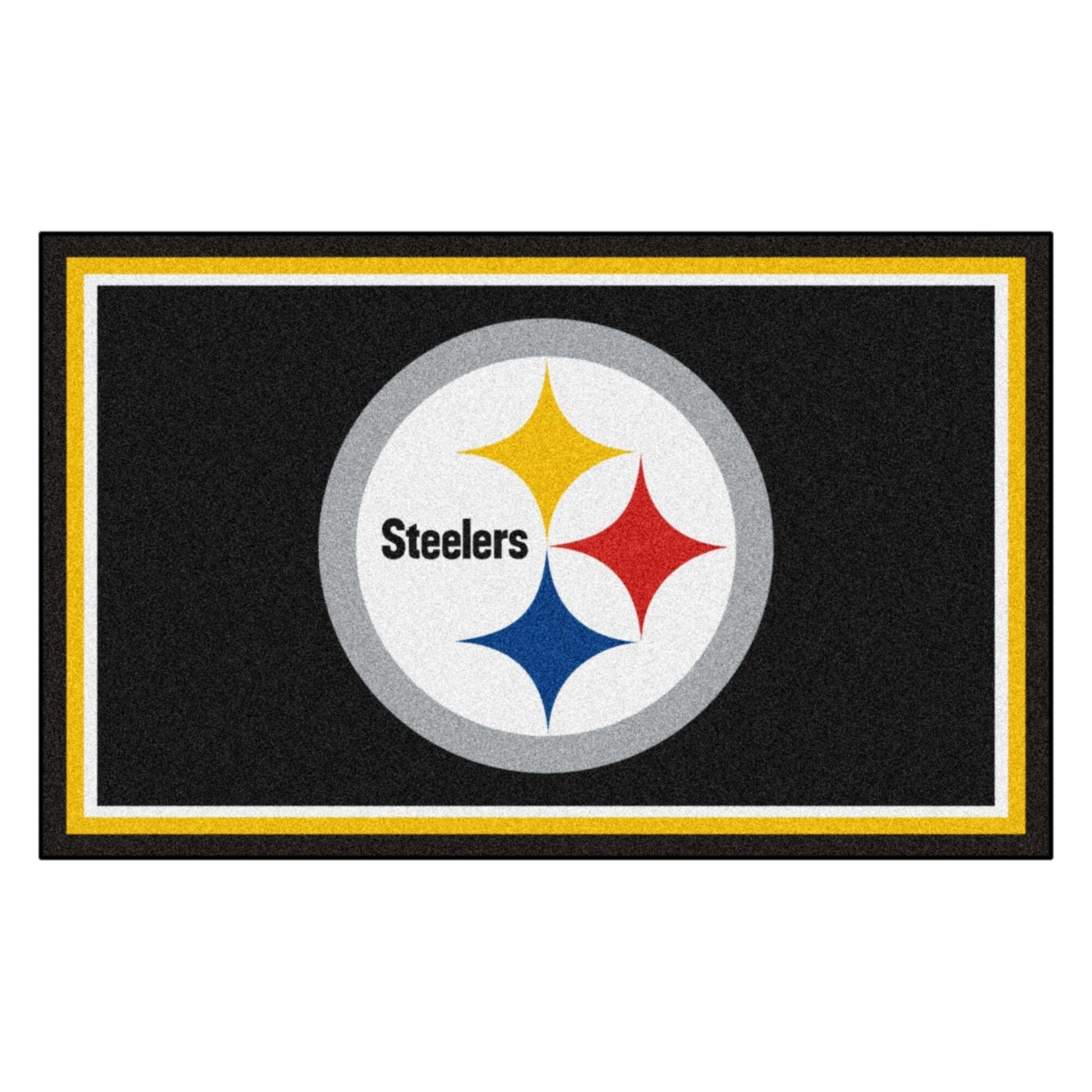 Fan Mats Pittsburgh Steelers Black Nylon Area Rug (4' x 6...
