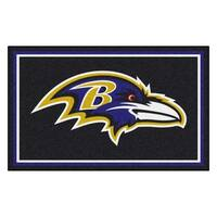 Fanmats Baltimore Ravens Black Nylon Area Rug (4' x 6')