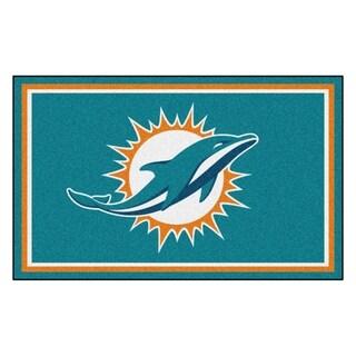 Fanmats Miami Dolphins Turquoise Nylon Area Rug (4' x 6')