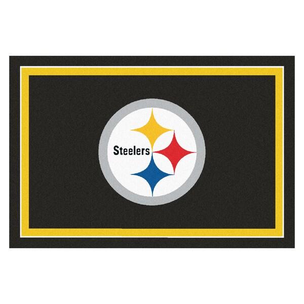 Fanmats Pittsburgh Steelers Black Nylon Area Rug (5' x 8')