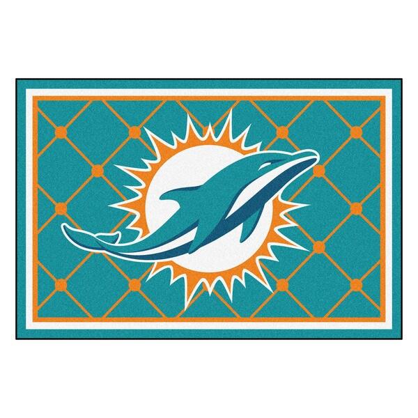 Fanmats Miami Dolphins Turquoise Nylon Area Rug (5' x 8')