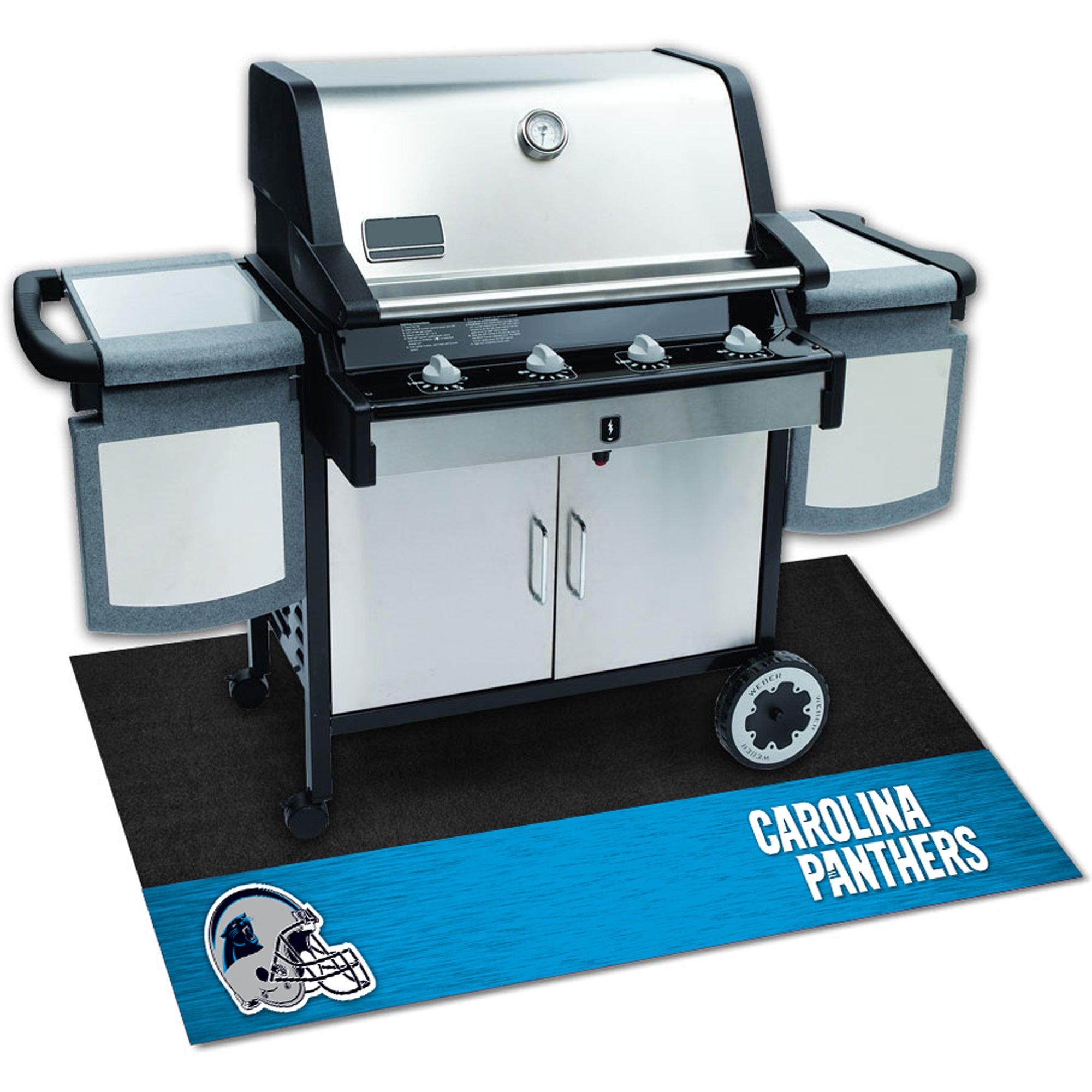 Fan Mats Carolina Panthers Black Vinyl Grill Mat (26 inch...