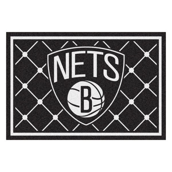 Fanmats Brooklyn Nets Black Nylon Area Rug (5' x 8')