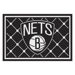 Fanmats Brooklyn Nets Black Nylon Area Rug (5' x 8')