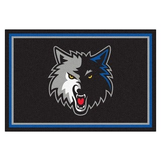 Fanmats Minnesota Timberwolves Black Nylon Area Rug (5' x 8')