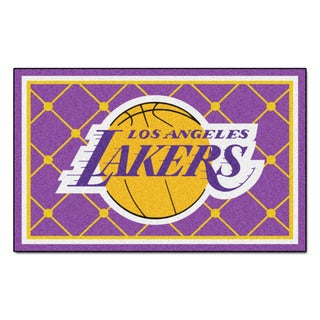 Fanmats Los Angeles Lakers Black Nylon Area Rug (5' x 8')