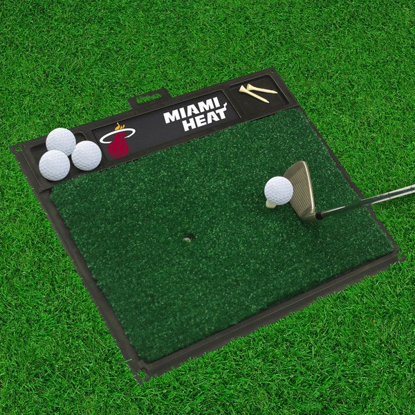 Fanmats Miami Heat Black Rubber Golf Hitting Mat