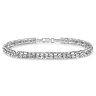 Sterling Silver 1ct. TDW Rose-cut Diamond Tennis Double Link Bracelet (I-J, I3-Promo Clarity)