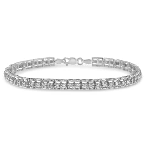 .925 Sterling Silver 1ct TDW Rose-cut Diamond Tennis Double Link Bracelet - 7 Inch (I-J Color, I3-Promo Clarity)