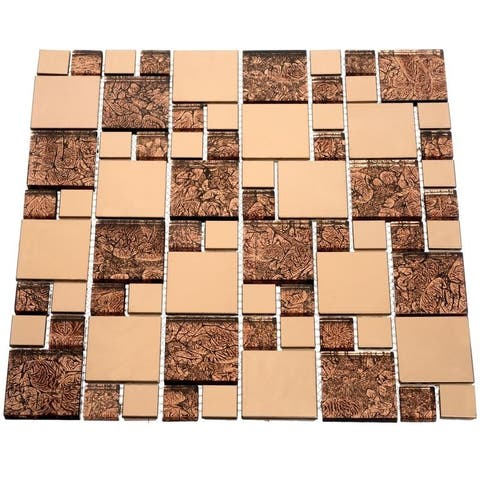 Satin Copper Glass Tiles (10.76 Square Feet) (Case of 11 sheets)
