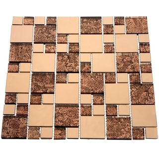 Satin Copper 10.78 square Foot Glass Tiles (Case of 11 sheets)