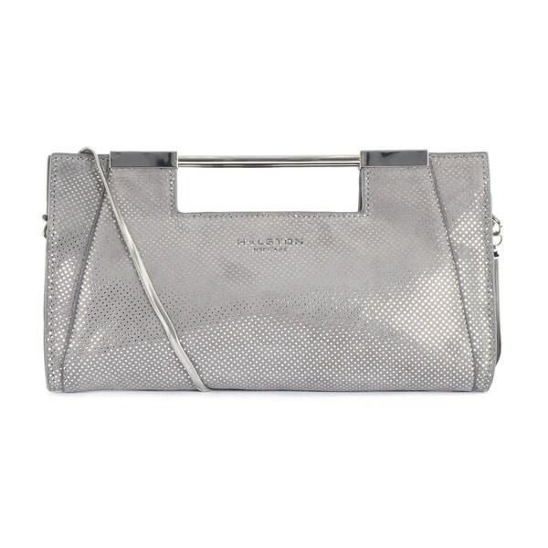 67f39f3c32 Shop Halston Heritage Grey Metallic Dot Lauren Clutch - Free ...