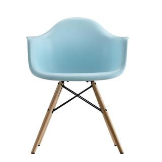 DHP Blue Eames Replica Molded Chair with Wood Legs