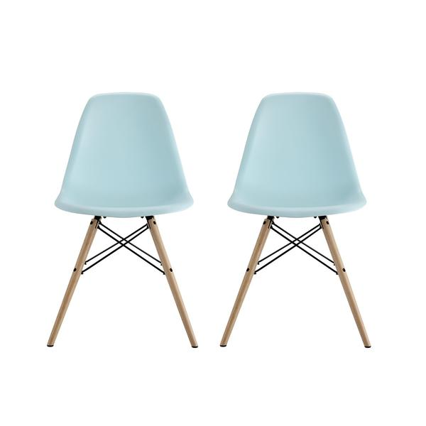 Merveilleux DHP Mid Century Modern Molded Blue Chair With Wood Legs (Set Of 2)