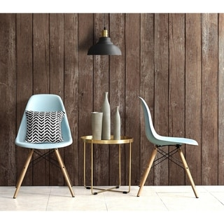 DHP Mid Century Modern Molded Blue Chair with Wood Leg (Set of 2)