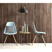 DHP Mid Century Modern Molded Blue Chair with Wood Legs (Set of 2)