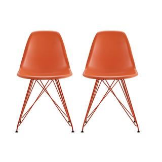 DHP Mid Century Modern Molded Orange Chair with Colored Leg (Set of 2)