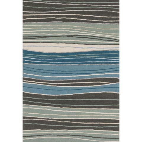 """Hand-hooked Grey/ Blue Contemporary Stripe Rug - 9'3"""" x 13'"""